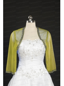 2014 Yellow Long Sleeves Wraps with Beading