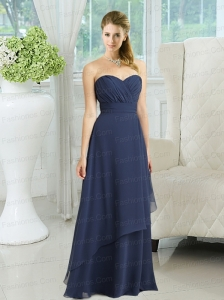 2015 Navy Blue Sweetheart Empire Prom Dresses  with Ruching