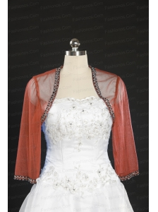 Cheap Red Long Sleeves Beading Wraps in 2014