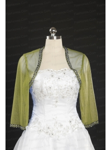 Elegant Olive Green Long Sleeves 2014 Wraps with Beading