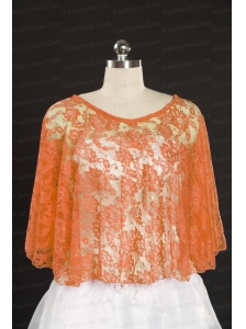 Elegant Orange Beading Lace Wraps for 2014