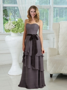 Empire Ribbons Floor Length Chiffon Prom Dresses