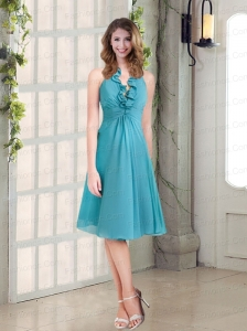 Empire Ruffles Turquoise 2015 Beautiful Prom Dresses  with Halter