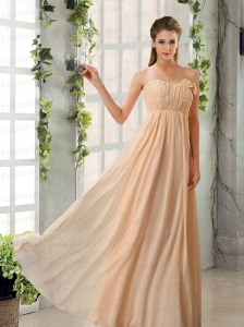 Empire V Neck Ruching Chiffon Prom Dresses with Cap Sleeves
