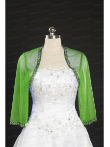 Green Long Sleeves 2014 Wraps with Beading