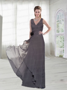 Grey V Neck Prom Dresses  with Hand Made Flowers at Low Price