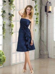 Navy Blue Ruching and Hand Made Flowers Strapless Prom Dresses