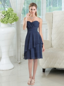 Navy Blue Sweetheart Empire Prom Dresses  with Ruching