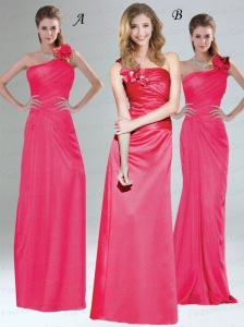 One Shoulder Floor Length Prom Dresses  with Hand Made Flowers