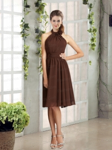 Ruching Chiffon Halter Hand Made Flowers Prom Dress in Brown
