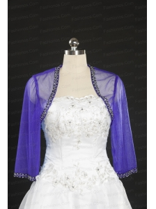 Simple Beading Purple Long Sleeves Wraps for 2014