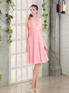 Sweet Halter Empire Chiffon Prom Dress with Ruching