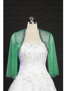2014 Fall Long Sleeves Organza Wraps in Green