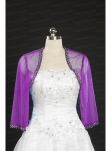 2014 Fuchsia Beading Wraps with Long Sleeves