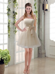 Simple Ruching Strapless Princess Prom Dress with Bowknot