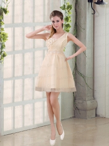 2015 Champagne One Shoulder A Line Appliques Prom Dress