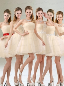 2015 Perfect A Line Tulle Prom Dress with Mini Length