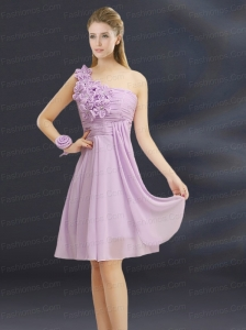 2015 Romantic Hand Made Flowers Sweetheart Ruching Prom Dress