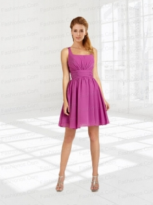 A Line Ruching Mini Length Chiffon Prom Dresses with Square