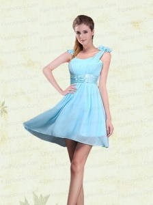 A Line Straps Prom Dresses with Ruching and Bowknot