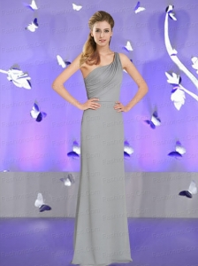 Decent Column Ruching Grey Prom Dress with One Shoulder