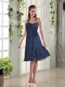 Navy Blue Ruching and Hand Made Flowers Sweetheart Prom Dresses