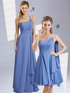 New Style Beading Ruching Prom Dresses with One Shoulder