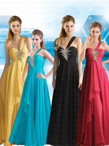 New Style Empire Chiffon 2015 Beading Prom Dress with One Shoulder