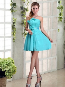 Perfect Ruching and Hand Made Flowers Strapless Prom Dress