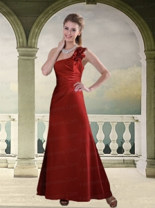 Ruching One Shoulder Wine Red Prom Dress with Hand Made Flowers