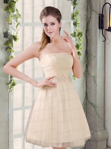 Strapless Appliques 2015 New Prom Dress in Champagne