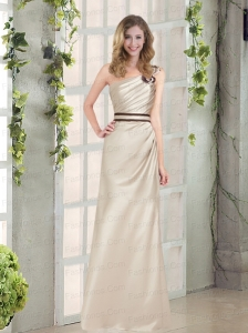 2015 Ruching and Belt One ShoulderFloor Length Prom Dress