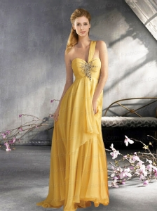 Empire One Shoulder Chiffon 2015 Prom Dress with Beading