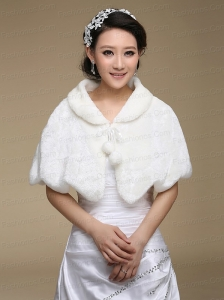 Fold-over Collar Special Occasion Rabbit Fur Shawls