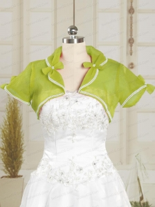 Olive Green Organza Wedding Party Shawls with Beading