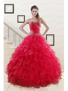 Sweetheart Ball Gown 2015 Sweet 16 Dresses in Coral Red