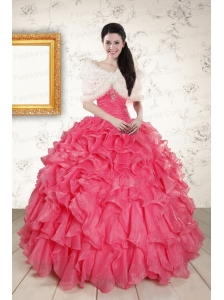 Beading and Ruffles 2015 Hot Pink Quinceanera Dresses with Strapless