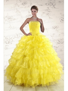 New Style Yellow Quinceanera Dresses with Beading and Ruffles