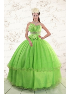 Spring Green  2015 Sweetheart Quinceanera Dresses with Beading and Bowknot