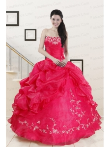 2015 Modest Sweetheart Embroidery Quinceanera Dress in Hot Pink