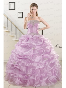 2015 Pretty Appliques and Ruffles Quinceanera Dresses in Lilac