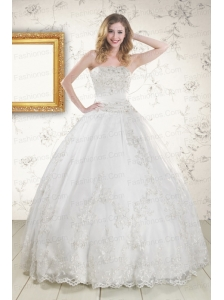 2015 Puffy Appliques Quinceanera Dress in White