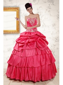 2015 The Super Hot Appliques Sweet 16 Dresses in Coral Red