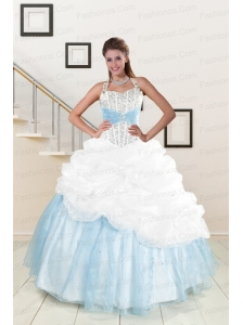 2015 White and Blue Ball Gown Quinceanera Dress with Halter