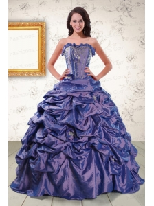 2015 Beaded and Pick ups Purple Quinceanera Dresses with Brush Train