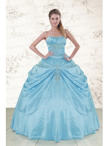 2015 Discount Aqua Blue Strapless Sweet 15 Dress with Appliques