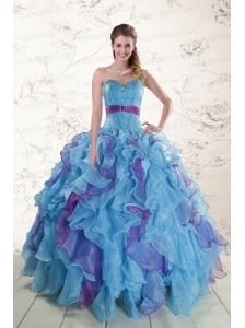 2015 New Style Multi Color Quinceanera Dresses with Beading and Ruffles