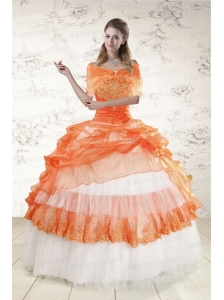 2015 Perfect Strapless Orange Quinceanera Dresses with Beading and Appliques