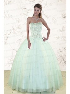 2015 Pretty Light Blue Sweet 15 Dresses with Beading