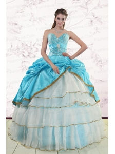 2015 Pretty Sweetheart Aqua Blue Quinceanea Dresses with Beading